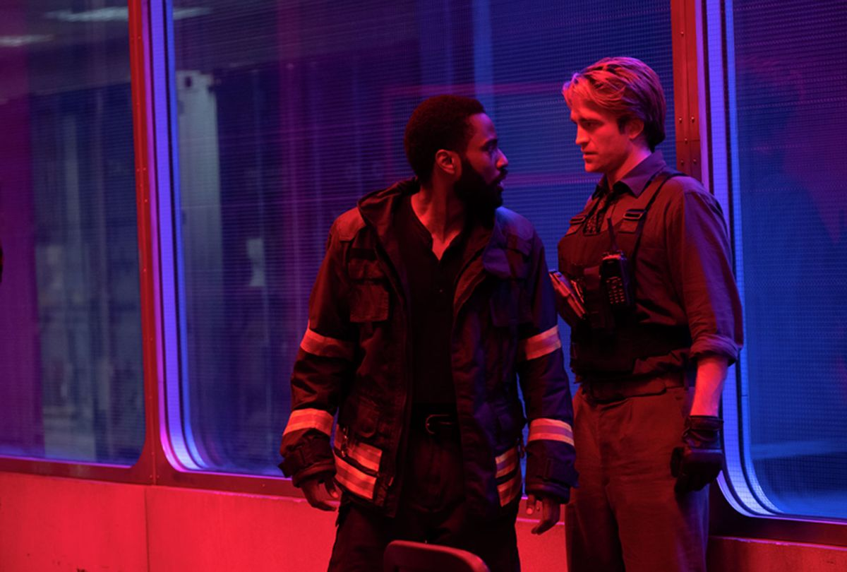 "John David Washington and Robert Pattinson in ""Tenet"" (Warner Bros.)"