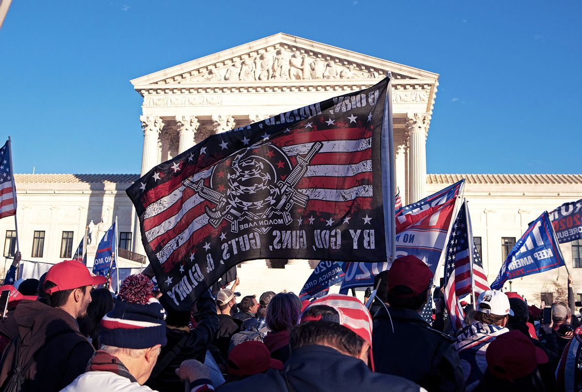 Supporters of US President Donald Trump participate in the Million MAGA March to protest the outcome of the 2020 presidential election in front of the US Supreme Court on December 12, 2020 in Washington, DC. (JOSE LUIS MAGANA/AFP via Getty Images)