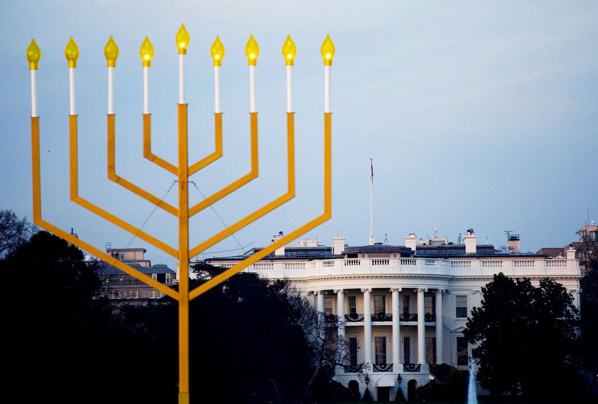The National Menorah, part of the Jewish holiday of Hanukkah, is seen near the White House in Washington, DC on December 10, 2015. (ANDREW CABALLERO-REYNOLDS/AFP via Getty Images)