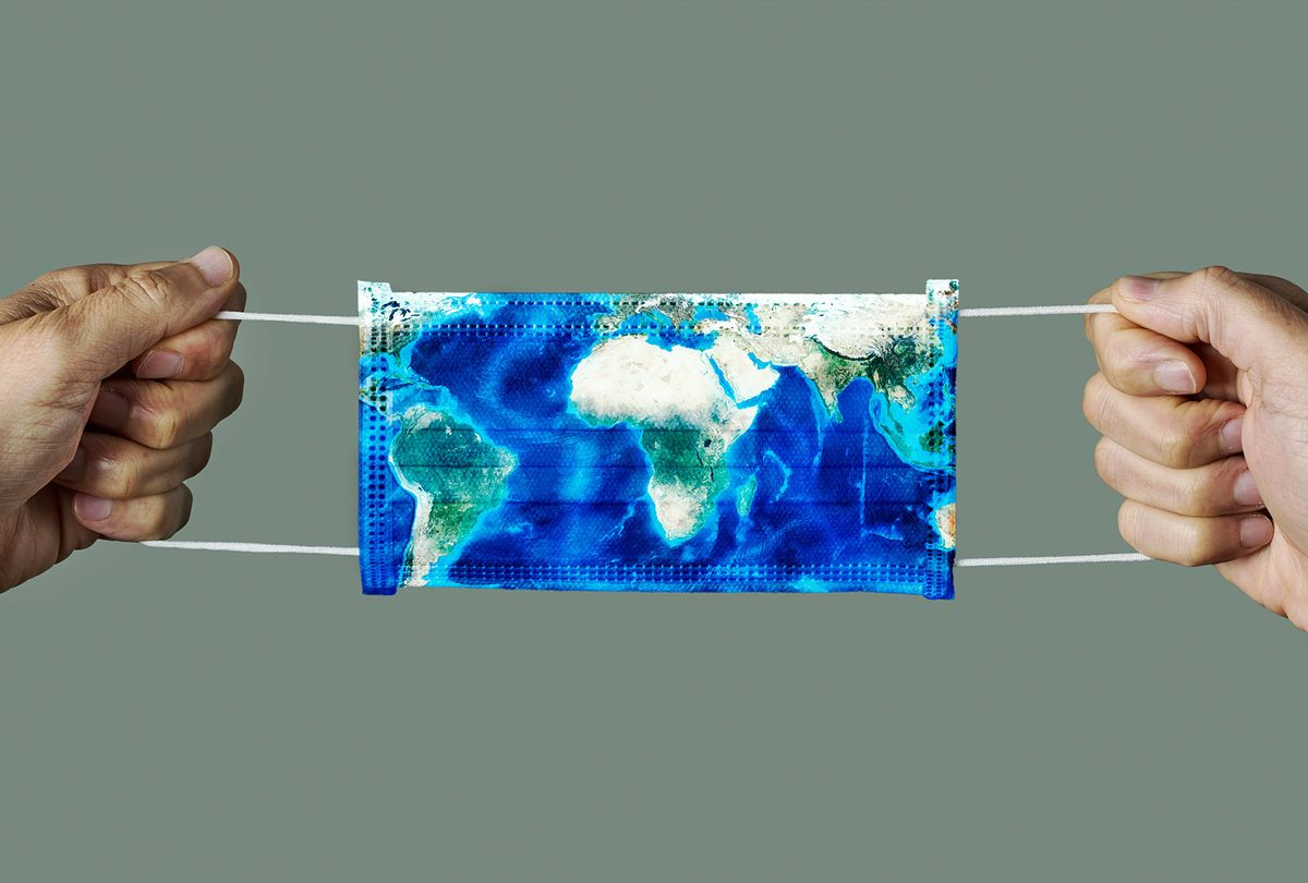 surgical mask patterned with a world map (Getty Images)