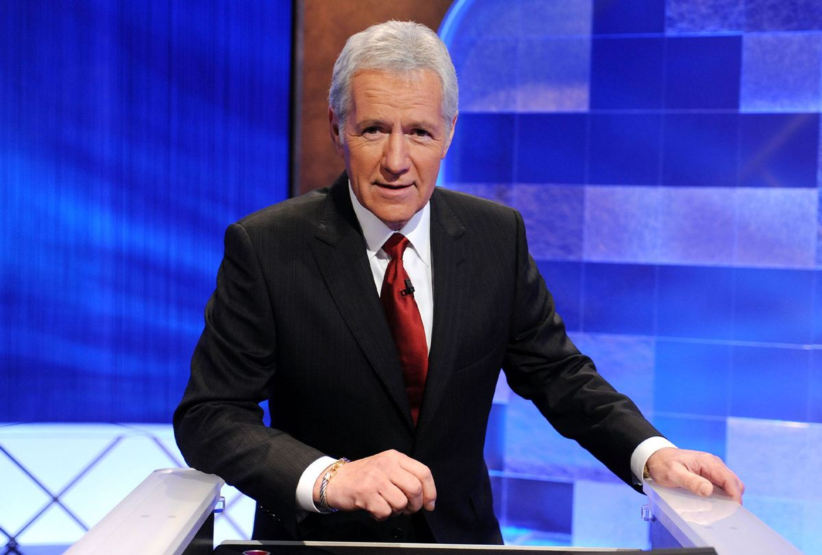 """Game show host Alex Trebek poses on the set of the """"Jeopardy!"""" Million Dollar Celebrity Invitational Tournament Show Taping on April 17, 2010 in Culver City, California. (Amanda Edwards/Getty Images)"""