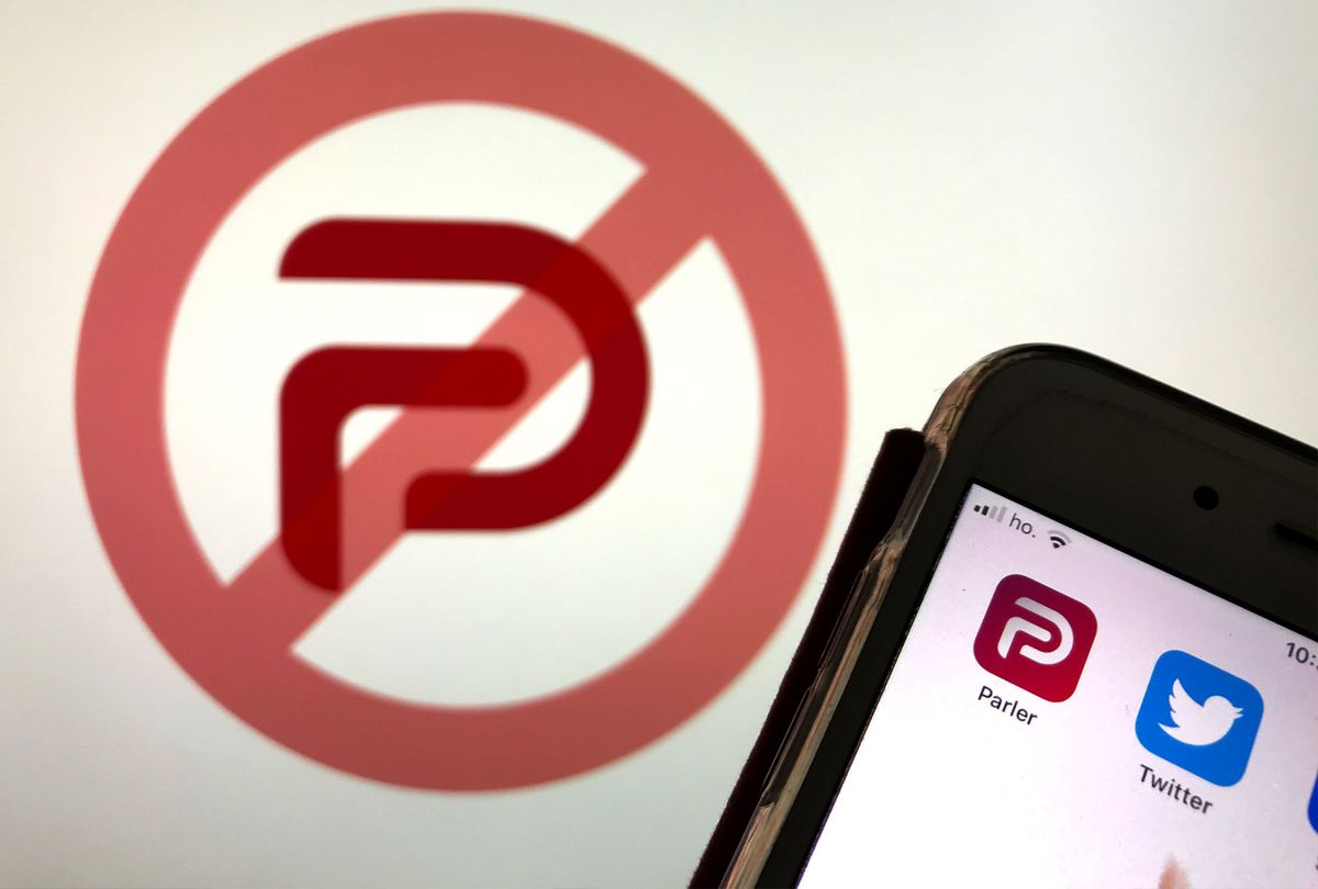 An user trying to open Parler social network App in L'Aquila, Italy, on January 11, 2021. French Social network has been closed. Amazon, Apple and Google have all booted it from their platforms in a span of a little more than 24 hours. (Lorenzo Di Cola/NurPhoto via Getty Images)