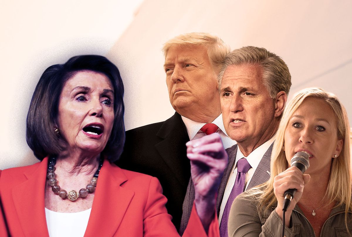 Nancy Pelosi, Kevin McCarthy, Marjorie Taylor-Greene and Donald Trump (Photo illustration by Salon/Getty Images)