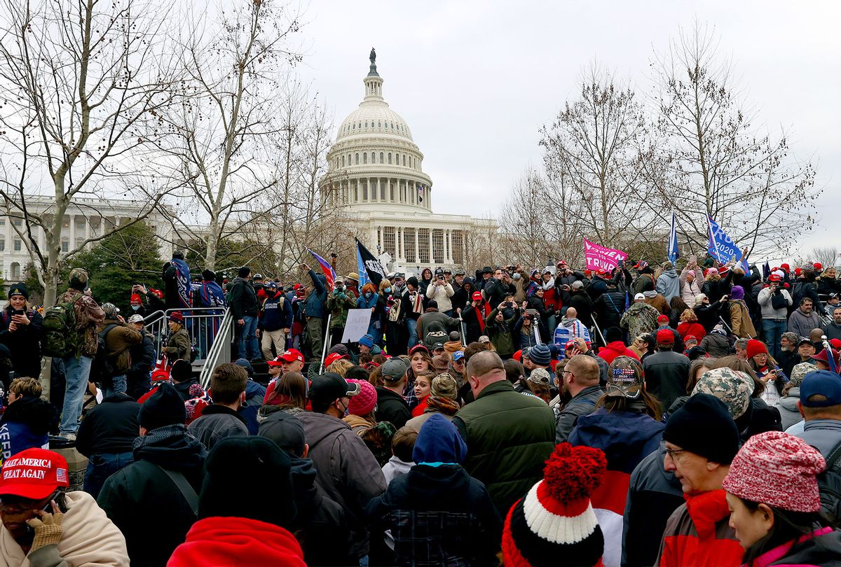 Protesters gather outside the U.S. Capitol Building on January 06, 2021 in Washington, DC. Pro-Trump protesters entered the U.S. Capitol building after mass demonstrations in the nation's capital. (Tasos Katopodis/Getty Images)