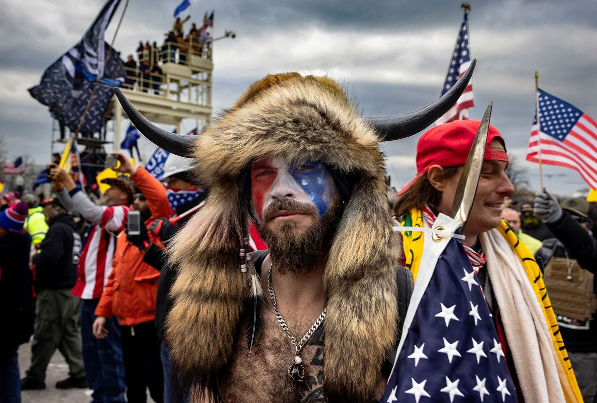 Jacob Anthony Angeli Chansley, known as the QAnon Shaman, is seen at the Capital riots.  (Brent Stirton/Getty Images)