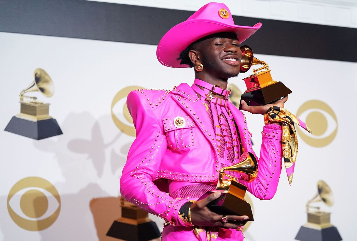 Lil Nas X poses in the press room with the awards for Best Music Video and Best Pop Duo/Group Performance during the 62nd Annual GRAMMY Awards at Staples Center on January 26, 2020 in Los Angeles, California. (Rachel Luna/FilmMagic)