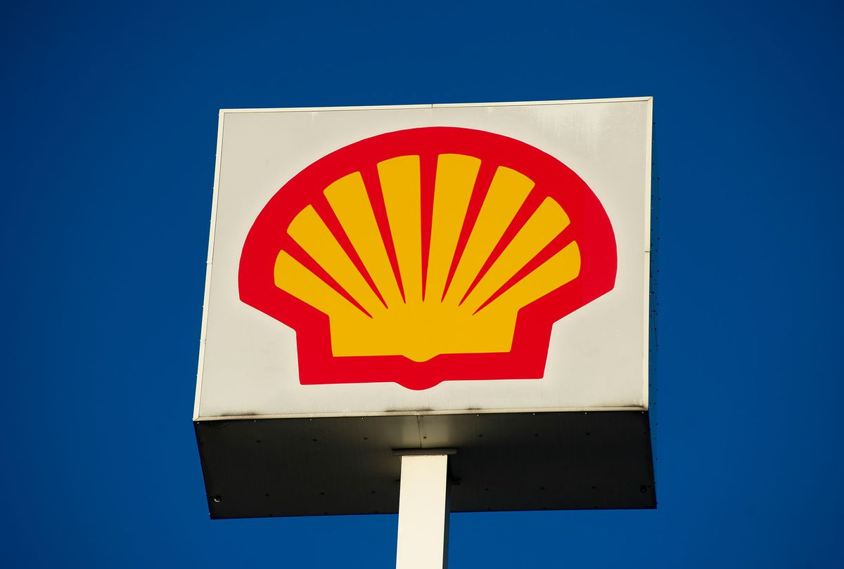 British-Dutch oil and gas company Royal Dutch Shell PLC sign , commonly known as Shell (Aleksander Kalka/NurPhoto via Getty Images)