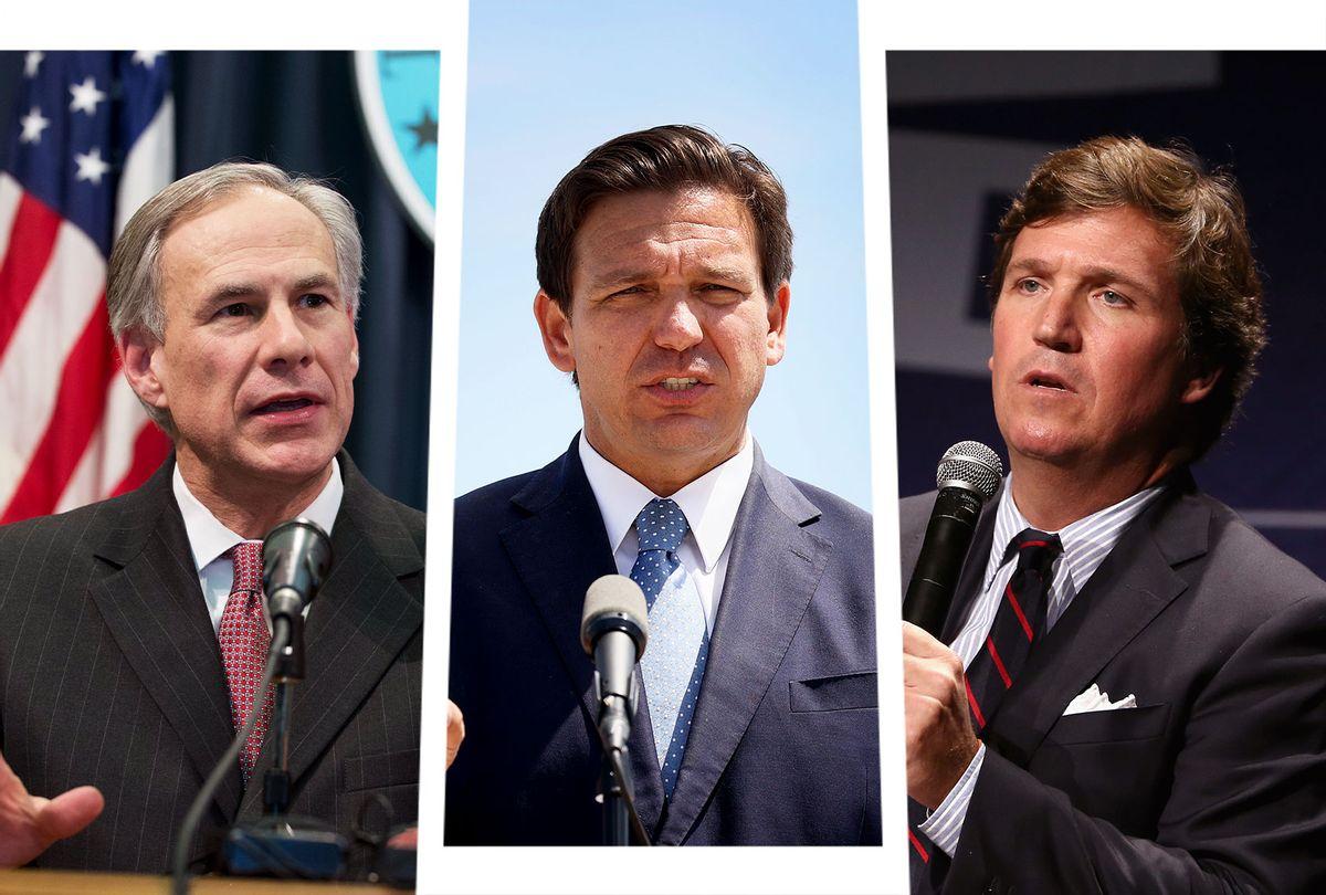Greg Abbott, Ron DeSantis and Tucker Carlson (Photo illustration by Salon/Getty Images)