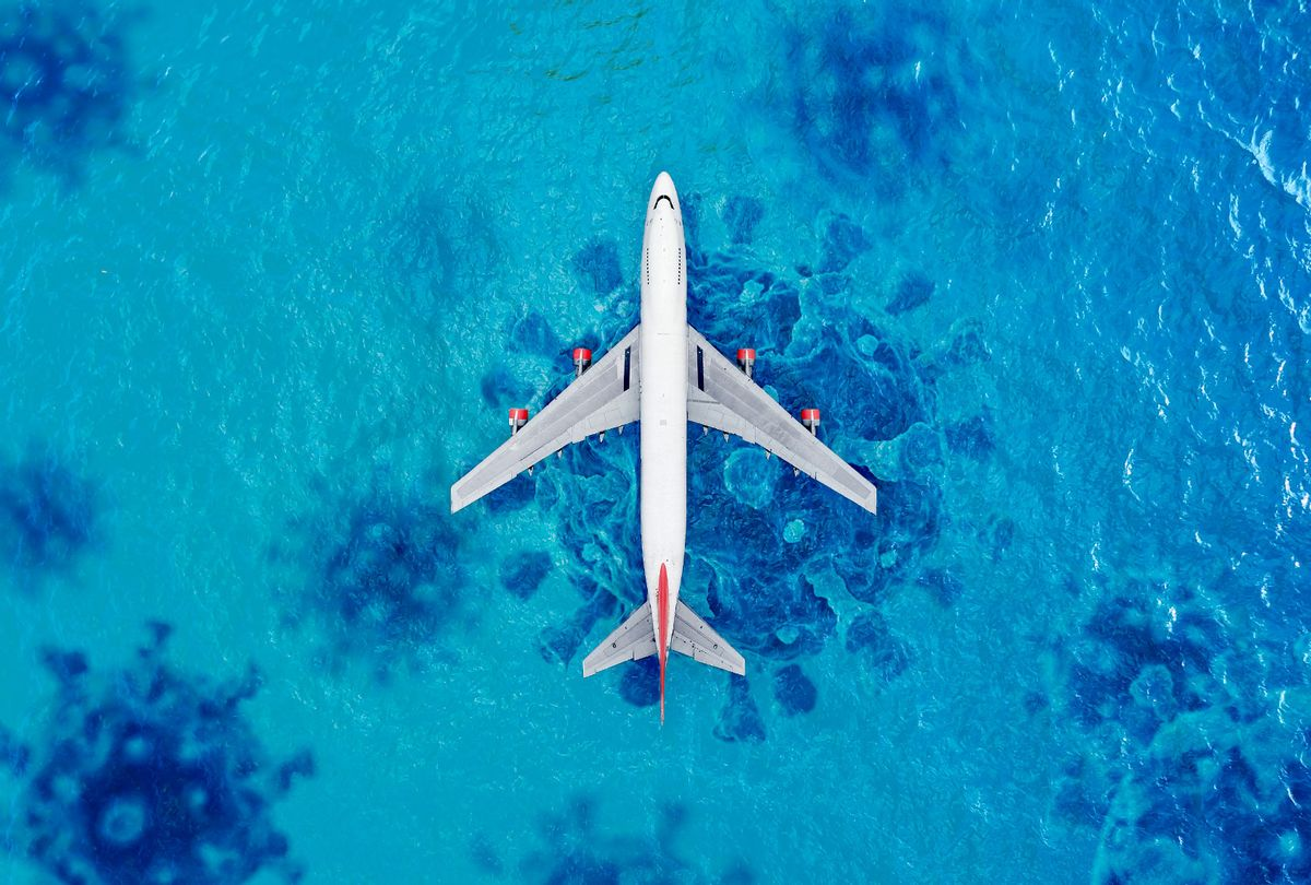 Airplane over sea | Covid-19 spores (Photo illustration by Salon/Getty Images)