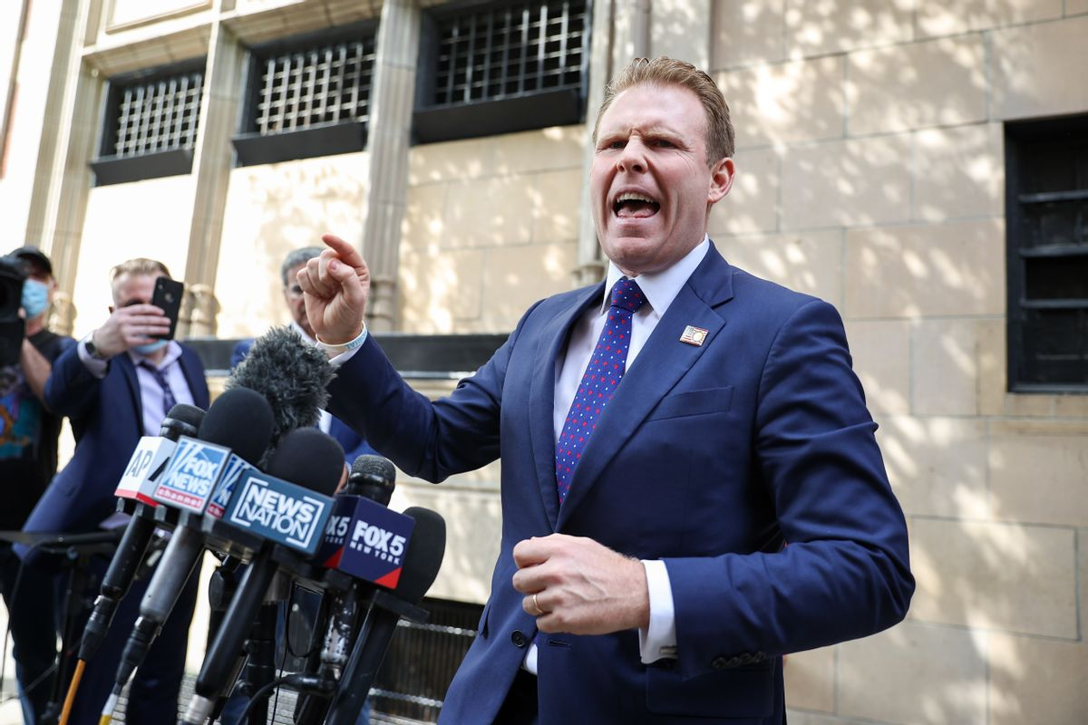 Andrew Giuliani speaks to the press after the FBI executed a search warrant outside the apartment of his father, Rudy Giuliani. (Tayfun Coskun/Anadolu Agency via Getty Images)