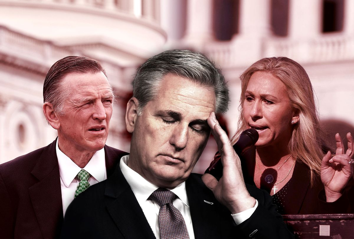 Kevin McCarthy, Marjorie Taylor-Greene and Paul Gosar (Photo illustration by Salon/Getty Images)