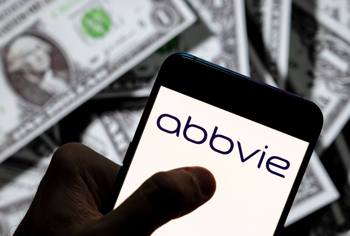 American biopharmaceutical company Abbvie logo seen displayed on a smartphone with USD (United States dollar) currency in the background. (Illustration by Budrul Chukrut/SOPA Images/LightRocket via Getty Images)
