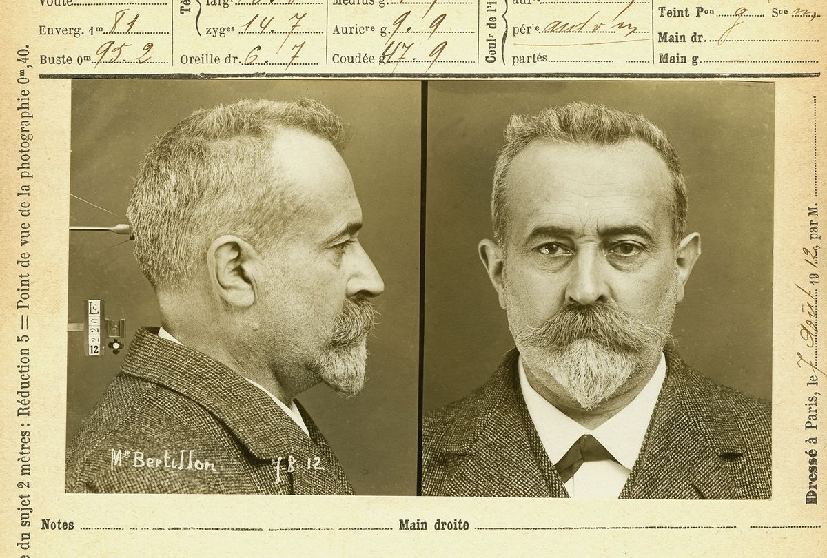 Alphonse Bertillon (1853-1914), French scholar, developed the criminal anthropometry. Self-portrait ID following his own methods made on August 7 1912, at the age of 59. (adoc-photos/Corbis via Getty Images)
