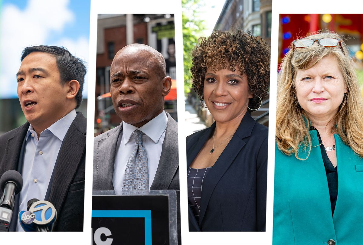 Andrew Yang, Kathryn Garcia, Eric Adams and Dianne Morales (Photo illustration by Salon/Getty Images/WikiCommons/Kris Graves)