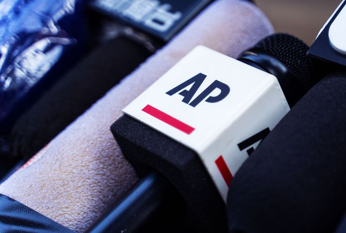 A microphone of the Associated Press (AP) (Chan Long Hei/SOPA Images/LightRocket via Getty Images)