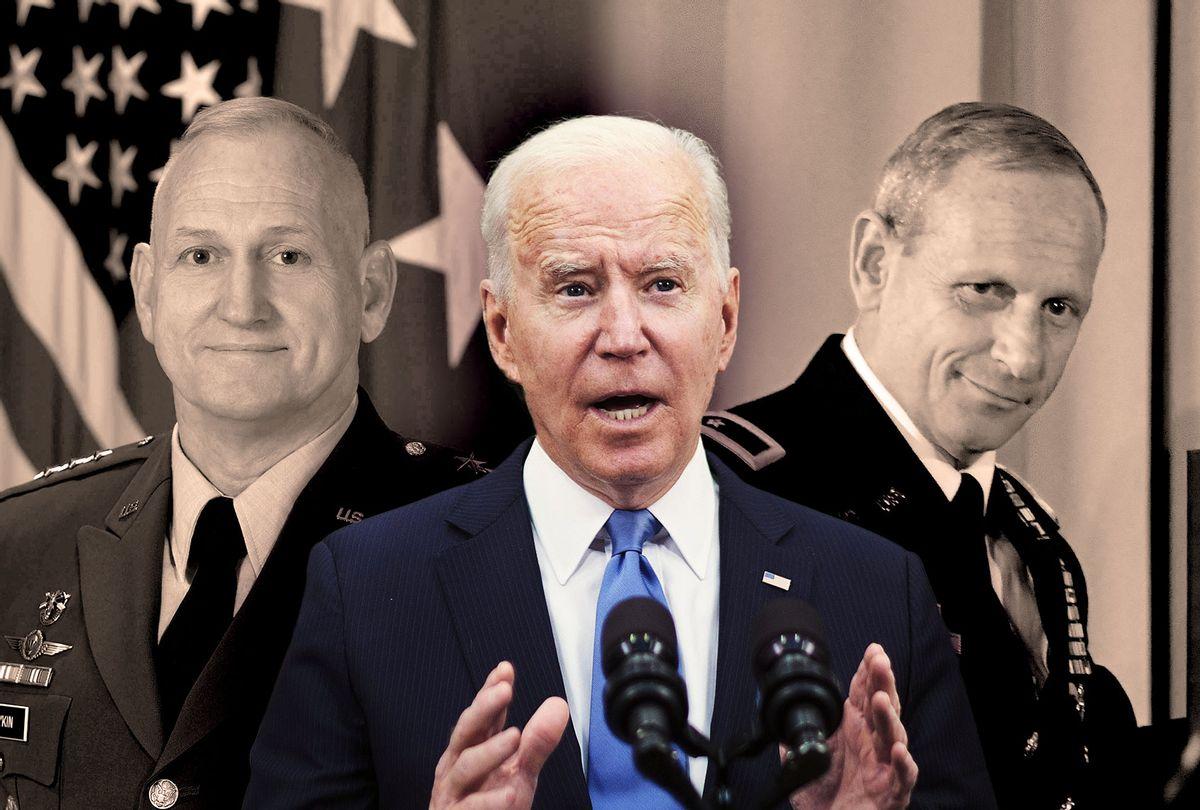 Don Bolduc, William G. Boykin and Joe Biden (Photo illustration by Salon/Getty Images)