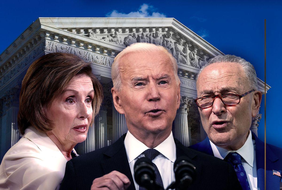 Nancy Pelosi, Joe Biden and Chuck Schumer  (Photo illustration by Salon/Getty Images)