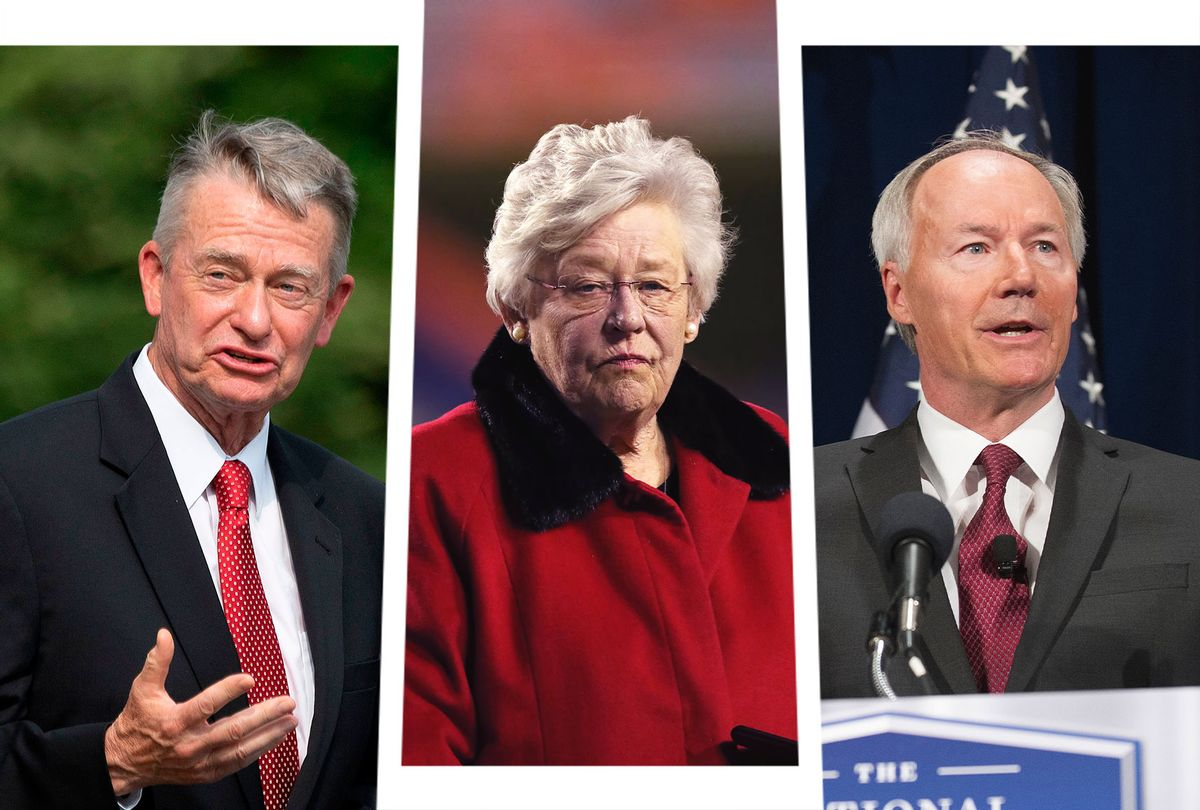 Idaho Governor Brad Little, Alabama Governor Kay Ivey and Arkansas Governor Asa Hutchinson (Photo illustration by Salon/Getty Images)