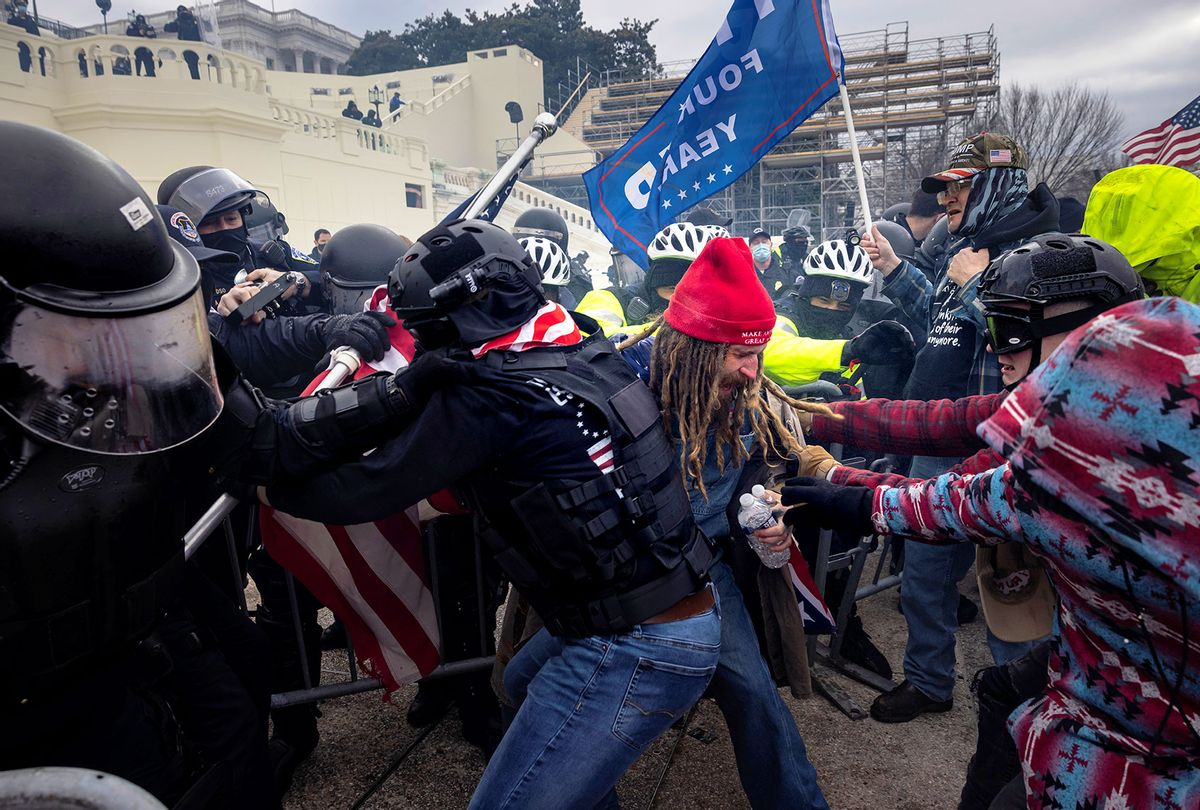 Trump supporters clash with police and security forces as people try to storm the US Capitol on January 6, 2021 in Washington, DC. Demonstrators breeched security and entered the Capitol as Congress debated the 2020 presidential election Electoral Vote Certification. (Brent Stirton/Getty Images)