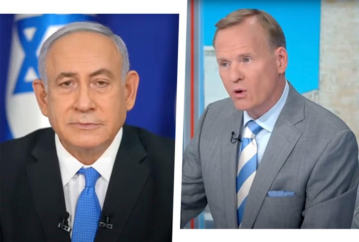 """Israeli Prime Minister Benjamin Netanyahu, left, and CBS """"Face the Nation"""" host John Dickerson (CBS)"""