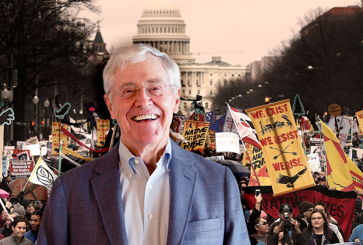 Charles Koch | Protesters march during a demonstration against the Dakota Access Pipeline on March 10, 2017 in Washington, DC.  (Photo illustration by Salon/Getty Images)