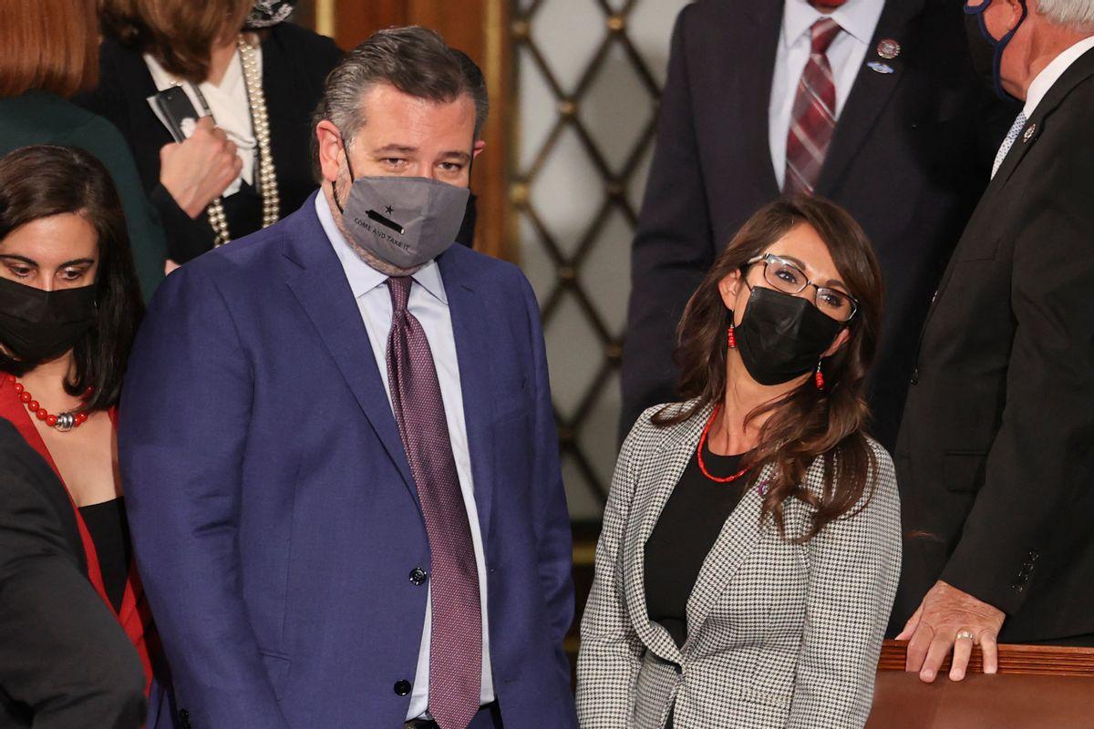 Sen. Ted Cruz, left, and Rep. Lauren Boebert (Getty Images)