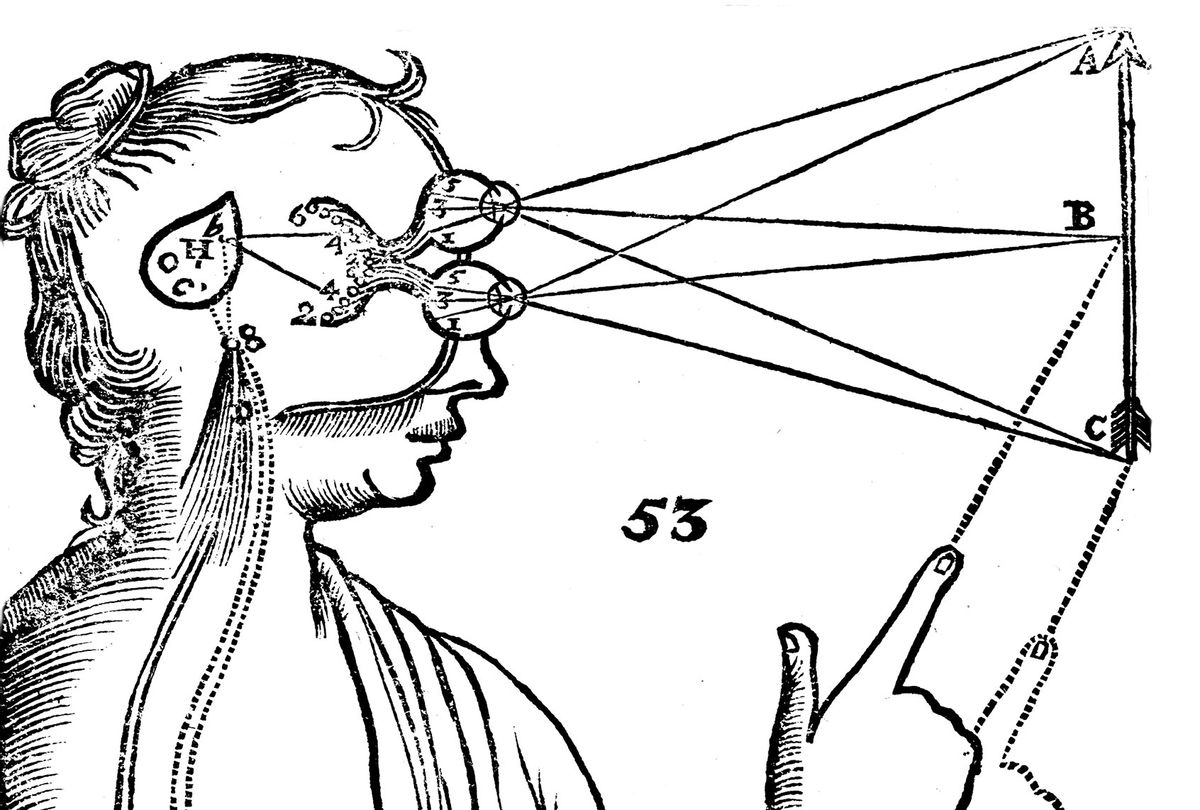 Descartes' (1596-1650) idea of vision, [1692]. The passage of nervous impulses from the eye to the pineal gland and so to the muscles. From Rene Descartes' Opera Philosophica (Tractatus de homine), 1692. (Oxford Science Archive/Print Collector/Getty Images)