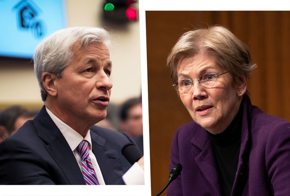Jamie Dimon and Elizabeth Warren (Photo illustration by Salon/Getty Images)