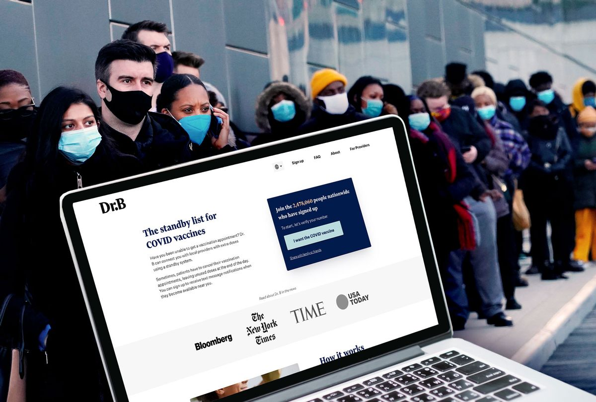 Dr. B website | Covid vaccine line (Photo illustration by Salon/Dr. B Oficial Website/Getty Images)