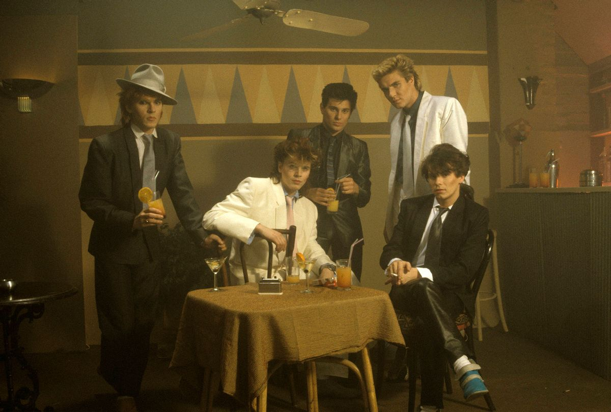 Nick Rhodes, John Taylor, Roger Taylor, Simon Le Bon and Andy Taylor (back) of Duran Duran in 1983 (Fin Costello/Redferns)