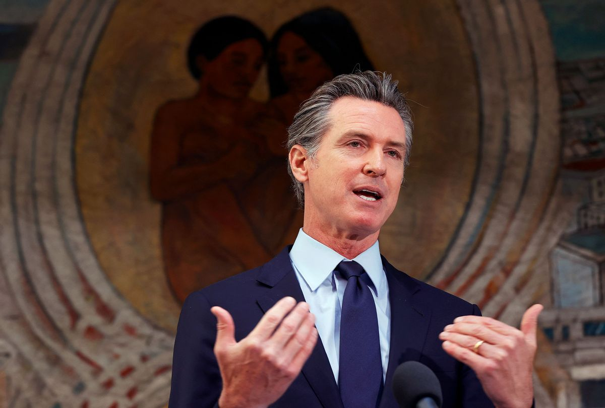 California Gov. Gavin Newsom speaks during a press conference at The Unity Council on May 10, 2021 in Oakland, California. (Justin Sullivan/Getty Images)