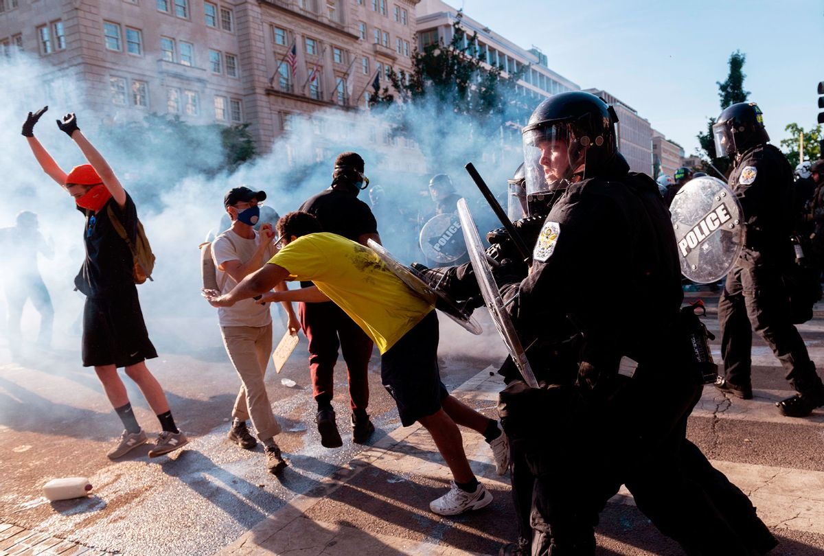 United States Park Police pushes back protestors near the White House on June 1, 2020 as demonstrations against George Floyd's death continue. (ROBERTO SCHMIDT/AFP via Getty Images)