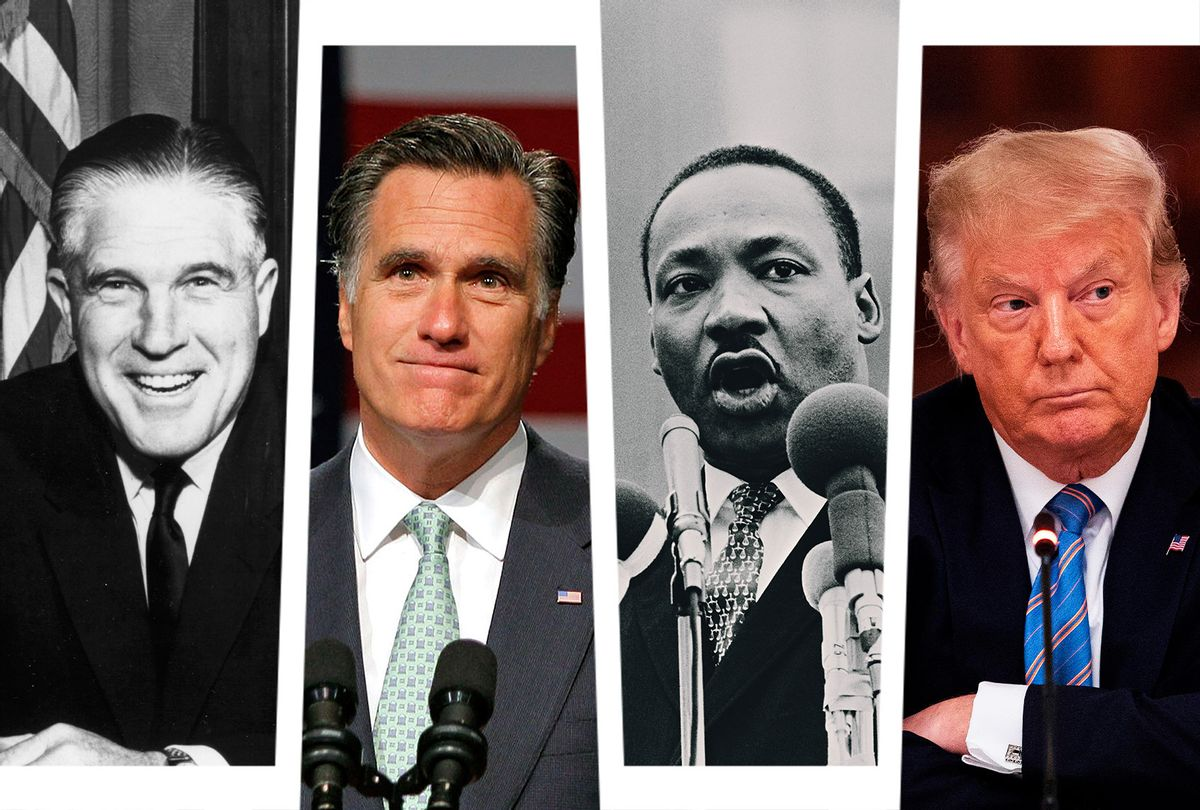 George Romney, Mitt Romney, Martin Luther King and Donald Trump (Photo illustration by Salon/Getty Images)