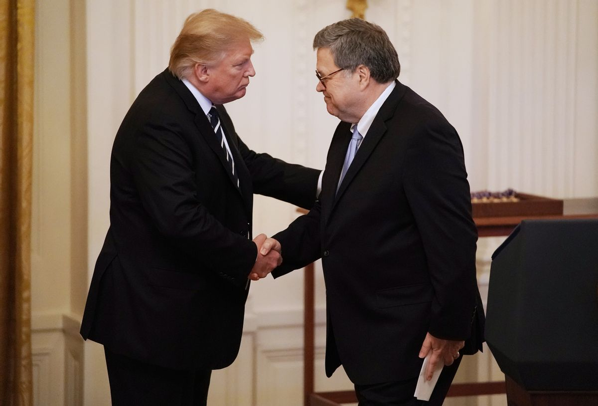 Former President Donald Trump shakes hands with former Attorney General William Barr. (Getty Images)
