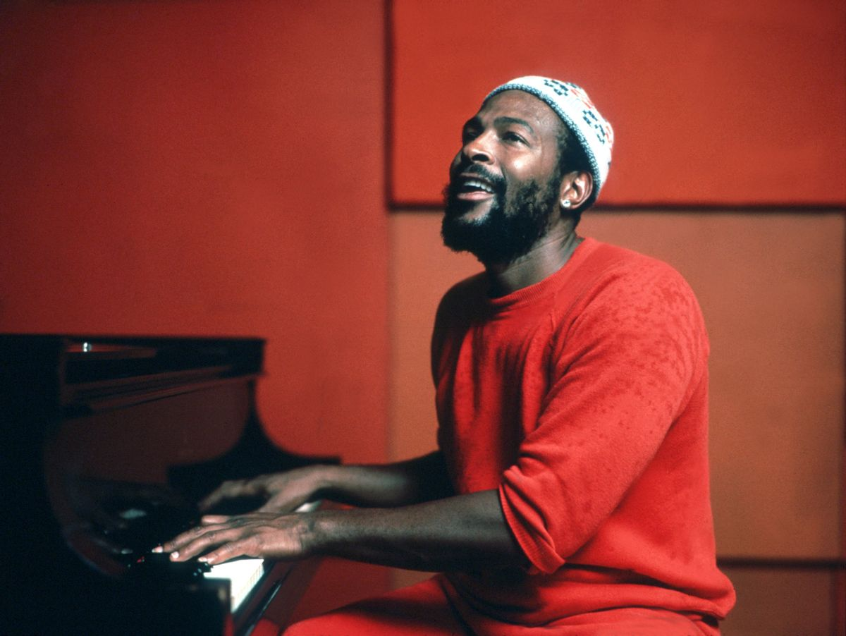 Marvin Gaye plays piano as he records in a studio in circa 1974. (Jim Britt/Michael Ochs Archives/Getty Images)
