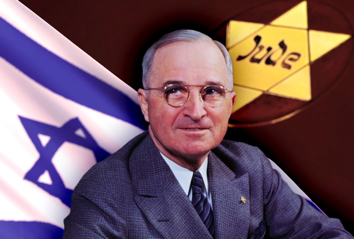 Harry Truman, Israeli flag and the Holocaust Jude star patch (Photo illustration by Salon/Getty Images)
