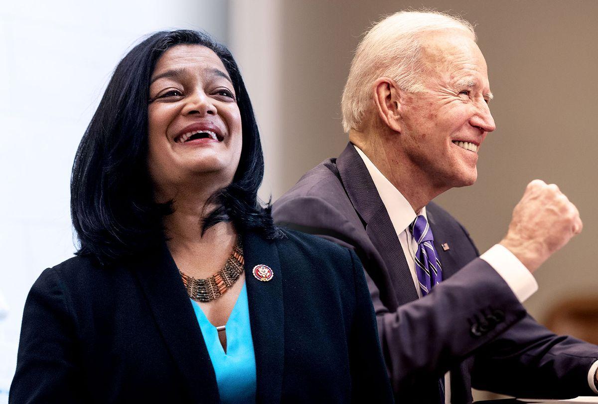 Pramila Jayapal and Joe Biden (Photo illustration by Salon/Getty Images)