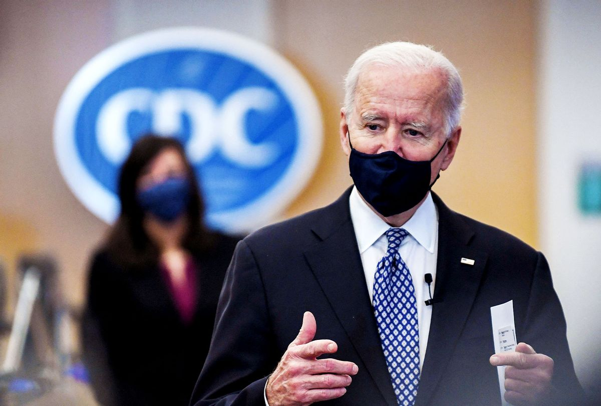 US President Joe Biden tours the Centers for Disease Control and Prevention in Atlanta, Georgia, on March 19, 2021. (ERIC BARADAT/AFP via Getty Images)
