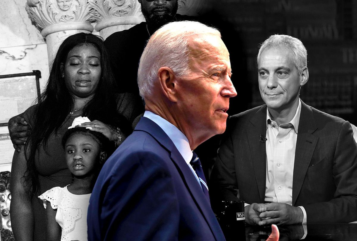 Roxie Washington, the mother of George Floyd's daughter Gianna Floyd, Joe Biden and Rahm Emanuel (Photo illustration by Salon/Getty Images)