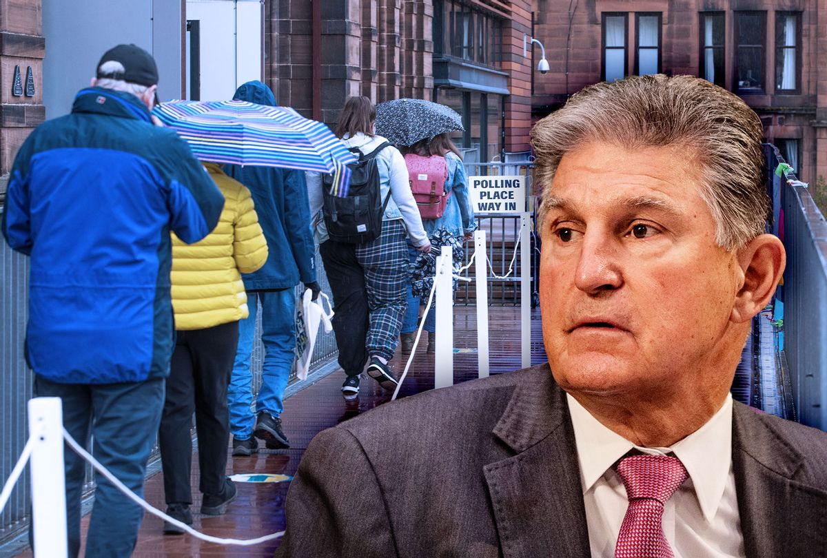 Joe Manchin | Voting line (Photo illustration by Salon/Getty Images)