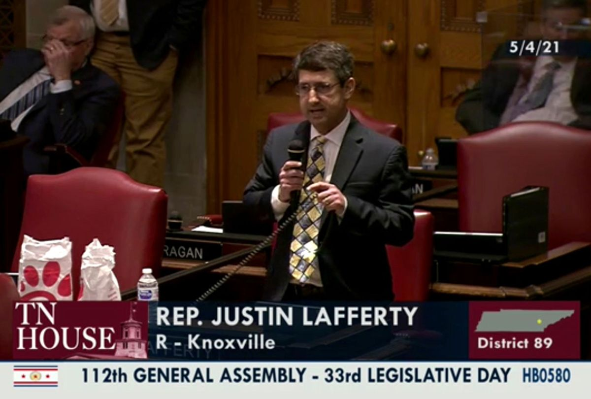 """In this still image from video provided by the Tennessee General Assembly, Rep. Justin Lafferty, R-Knoxville, speaks on the floor of the House of Representatives at the State Capitol in Nashville, Tenn., on Tuesday, May 4, 2021. Lafferty falsely declared that an 18th century policy designating a slave as three-fifths of a person was adopted for """"the purpose of ending slavery,"""" commenting amid a debate over whether educators should be restricted while teaching about systematic racism in America. (Tennessee General Assembly)"""