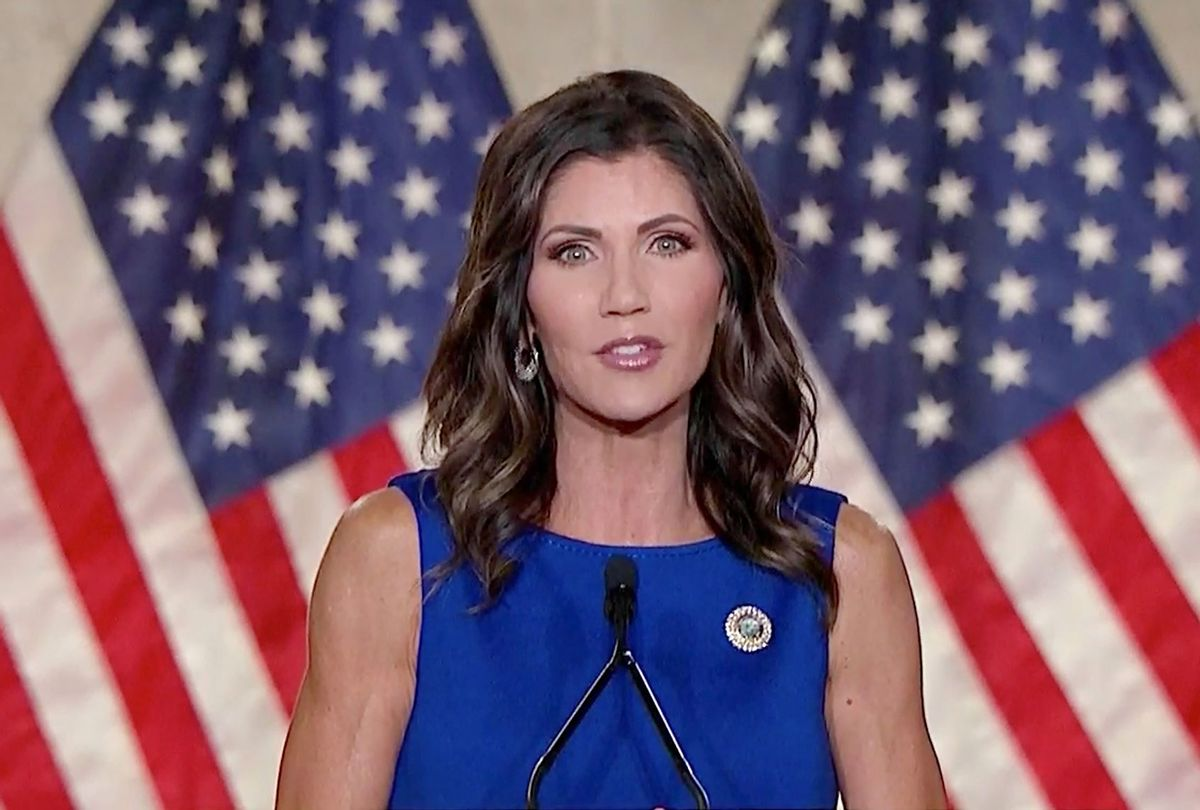 In this screenshot from the RNC's livestream of the 2020 Republican National Convention, South Dakota Gov. Kristi Noem addresses the virtual convention on August 26, 2020. (Courtesy of the Committee on Arrangements for the 2020 Republican National Committee via Getty Images)