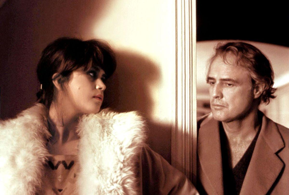 "Maria Schneider and Marlon Brando on the set of Bernardo Bertolucci's ""Last Tango in Paris"" (Sunset Boulevard/Corbis via Getty Images)"