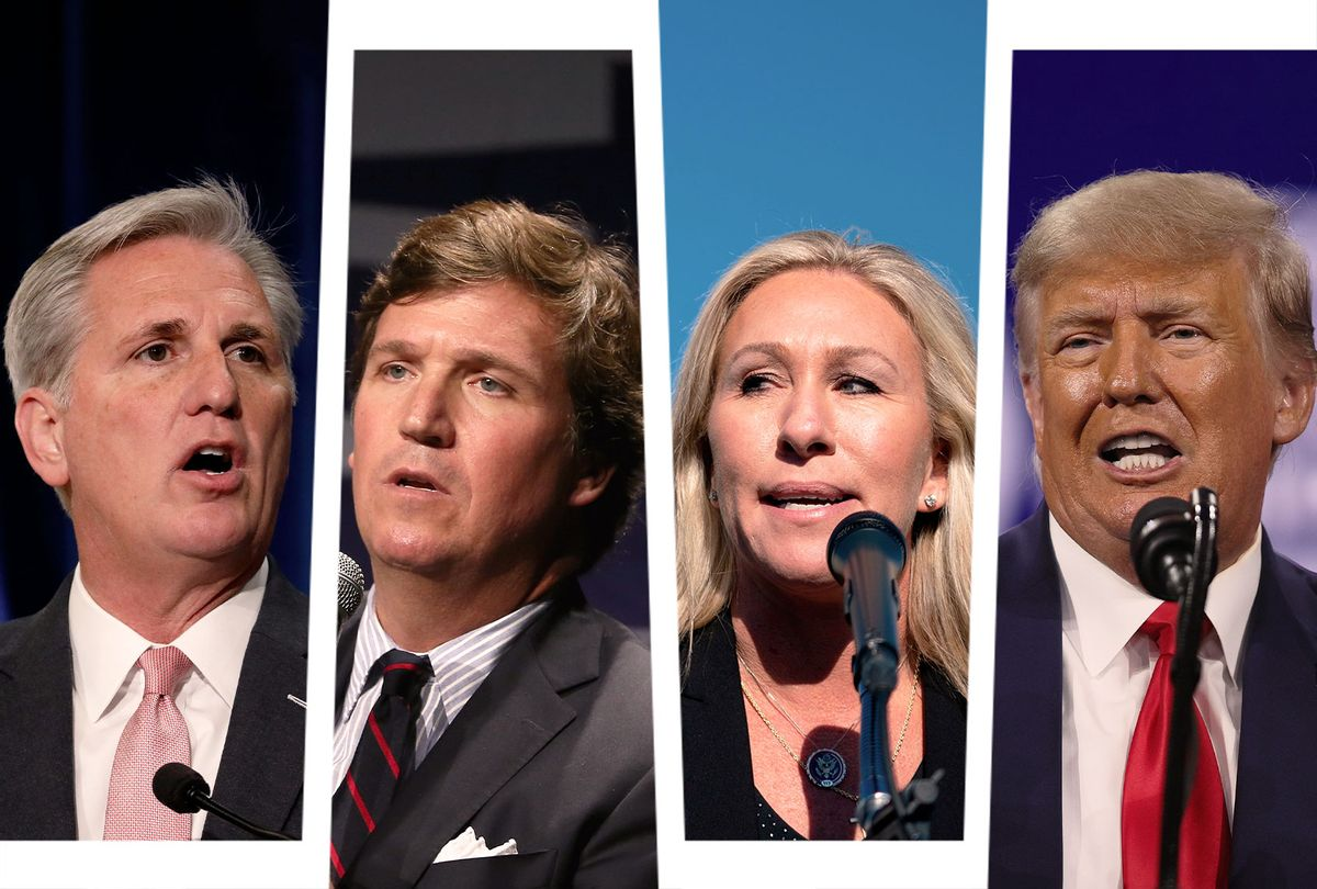 Kevin McCarthy, Tucker Carlson, Marjorie Taylor Greene and Donald Trump (Photo illustration by Salon/Getty Images)