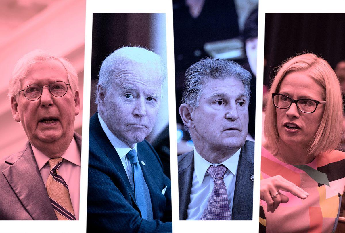 Joe Biden, Mitch McConnell, Joe Manchin and Kyrsten Sinema (Photo illustration by Salon/Getty Images)