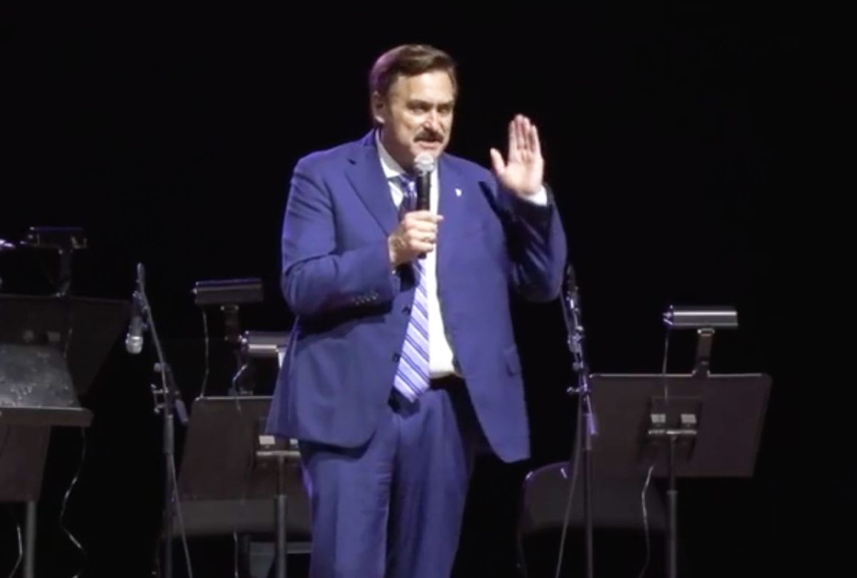 Mike Lindell speaks at Frank Speech rally on May 10, 2021. (Right Side Broadcasting Network)