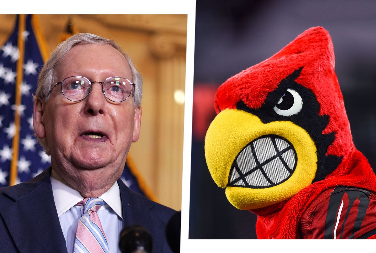 Mitch McConnell and the University of Louisville Cardinals mascot (Photo illustration by Salon/Getty Images)