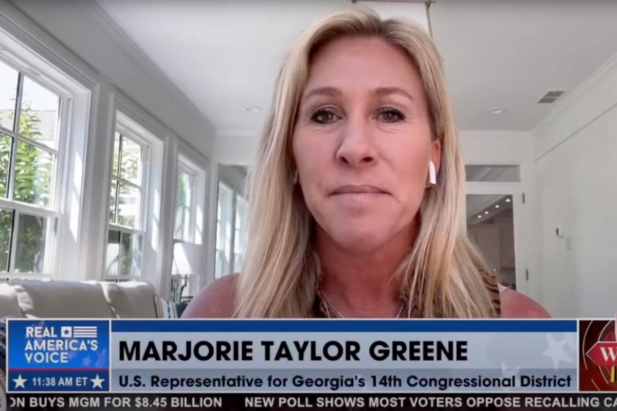 Rep. Marjorie Taylor Greene, R-Georgia, during an interview with Steve Bannon. (Real America's Voice)