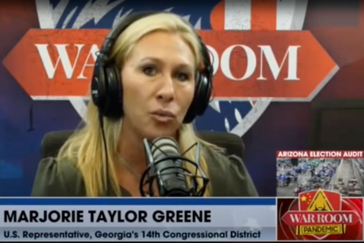 Rep. Marjorie Taylor Greene, R-GA, during an interview with Steve Bannon. (Real America's Voice)