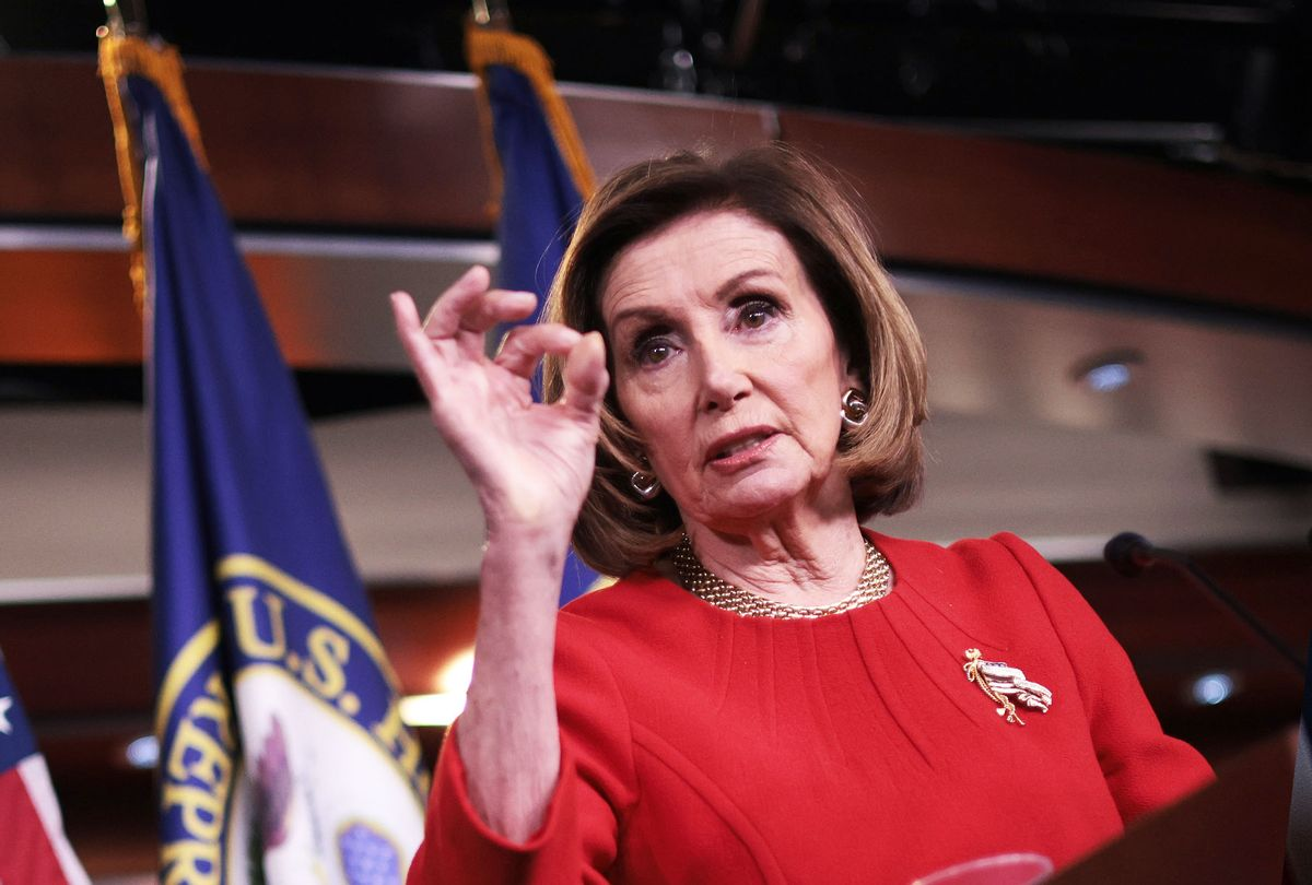 Speaker of the House Nancy Pelosi (D-CA) answers questions during her weekly press conference on May 13, 2021 in Washington, DC. (Win McNamee/Getty Images)